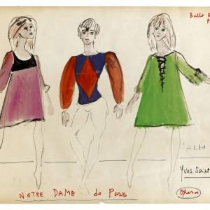 Yves Saint Laurent, Croquis decostumes, Notre-Dame deParis, 1965